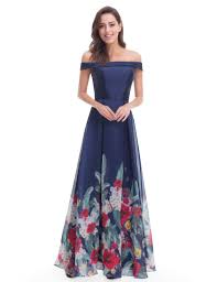 evening gowns shoulder floral print evening gown