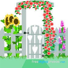 garden gate with flowers stock image royalty free image id 10082236