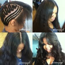 no part weave hairstyles braid pattern for middle part sew in choice image craft