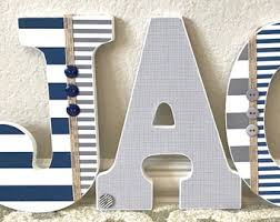 Letter Decorations For Nursery Navy Blue Letters Etsy