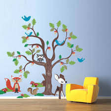 oak tree wall decal mural with woodland by wordybirdstudios oak tree wall decal mural with woodland by wordybirdstudios
