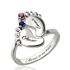 mothers day birthstone jewelry name day ring with birthstone platinum plated