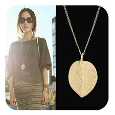 long necklace costume jewelry images Feelontop costume jewelry gold color alloy leaf design jpg