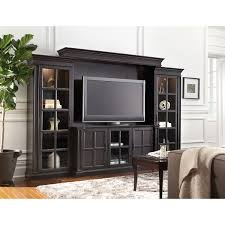 glass door entertainment center art van kingston wall console set for 65 inch tvs 65 inch tvs