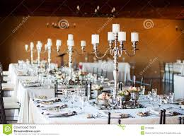 Decoration Tables by Wedding Reception Hall With Decorated Tables Stock Photo Image