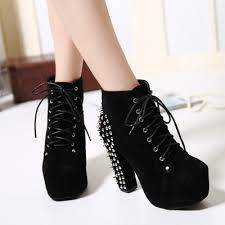 s boots high heel faux suede studded platform high heels ankle boots oasap com