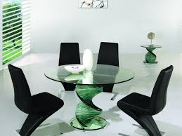 Round Glass Dining Table Wood Base Dining Table Glass Top Dining Table Set For House Design Ideas