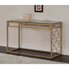 Glass Sofa Table The Curated Nomad Quatrefoil Goldtone Metal And Glass Sofa Table