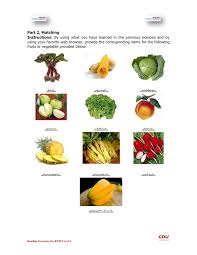 fruits and vegetables worksheet answers