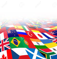 Flag Financial International Business Background With Flags From The World In