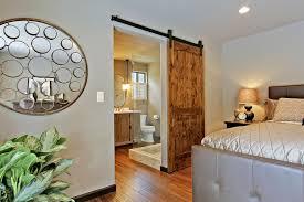 interior un polish wooden sliding door bath room with black metal