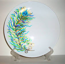 personalized ceramic platters painted wedding plate painted peacock feathers personalized