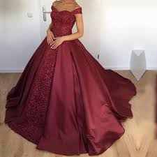 wedding dress maroon maroon satin gowns wedding dresses the shoulder alinanova