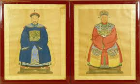 a pair of chinese oil paintings on silk depicting emperor and empress seated on thrones