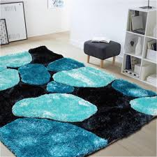 3d thick soft shag rug in blue black u2013 oliandola