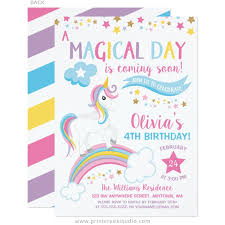 magical rainbow unicorn birthday invitations print creek studio inc
