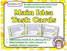 mastering main idea using task cards simply skilled in second