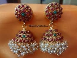 kempu earrings jhumkas earrings gorgeous multi color real kempu jhumkas