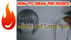 how to draw simple short and long hair tutorial youtube