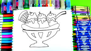 learn to color yummy ice cream coloring page banana split with