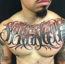 men chest nice spiritual letters tattoo design golfian com