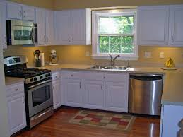 Red And Yellow Kitchen Ideas Kitchen L Shape White Wall Shelves Plus Red Fabric Curtain Cool