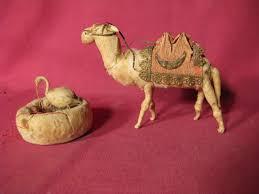 lot 2 antique spun cotton christmas ornaments lg camel stork in