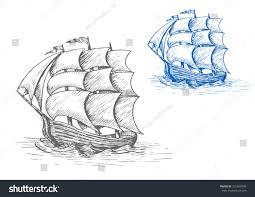 old sailing ship sketch billowing sails stock vector 332659496