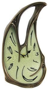 cool bronze finish melted desk clock table mantel dali