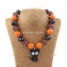 buy halloween orange black chunky gumball bead beaded necklaces