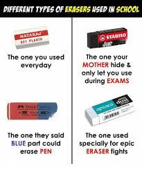different types of erasers hsed in school natara 621 plasto stabilo
