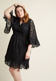 Black Cocktail Dresses With Sleeves Bell Sleeve Lace Dress In Black Modcloth