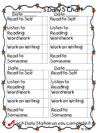 free printable daily five student chart literacy centers u0026 book