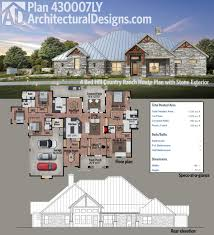 plan 430007ly 4 bed hill country ranch house plan with stone