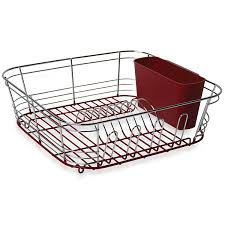 Bed Bath And Beyond Dish Rack Amazon Com Omni Small Chrome Dipped Dish Drainer In Red 12 3 4