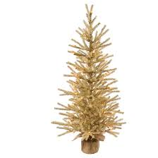 3ft pre lit chagne artificial tree in burlap base