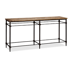 wood and iron sofa table parquet reclaimed wood console table pottery barn