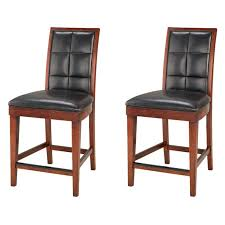 furniture black leather bar stools with rectangle high tufted
