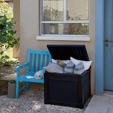 keter 55 gallon outdoor rattan style storage cube patio table ebay