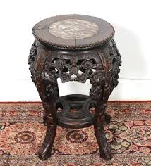 carved wood end table chinese marble inset carved wood end table stand lot art