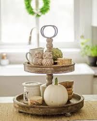 Fall Kitchen Decor - farmhouse style fall kitchen decor wooden tiered tray wood tray
