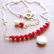 red gold jewelry necklace images Red coral necklace coral pearl bar necklace gold jewelry jpg