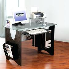 Sublime Glass Top Computer Desk For House Design With Keyboard