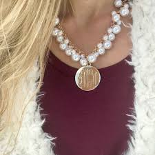 pearl monogram necklace monogram pearl bauble necklace i jewelry