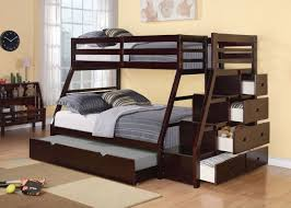 Staircase Bunk Beds Acme 37015 Jason Espresso Wood Trundle Bunk Bed With Stairs