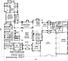 8000 square foot house floor plans large 6 six bedroom single