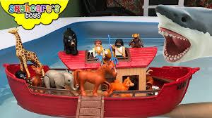 noah u0027s ark vs giant shark animal toys kids safari zoo
