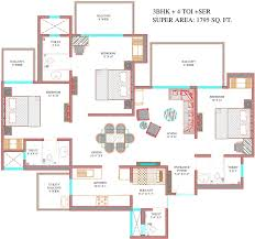 Sq Ft 2600 Sq Ft 4 Bhk 5t Apartment For Sale In Ajnara The Belvedere