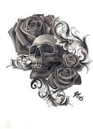 how to draw skulls with roses by note9 info