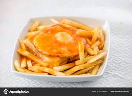 cuisine portugal francesinha traditional cuisine from porto portugal stock